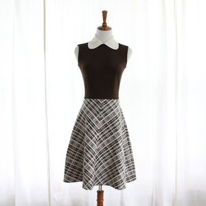60s Vtg Mod Brown Peter Pan Collar Midi Dress